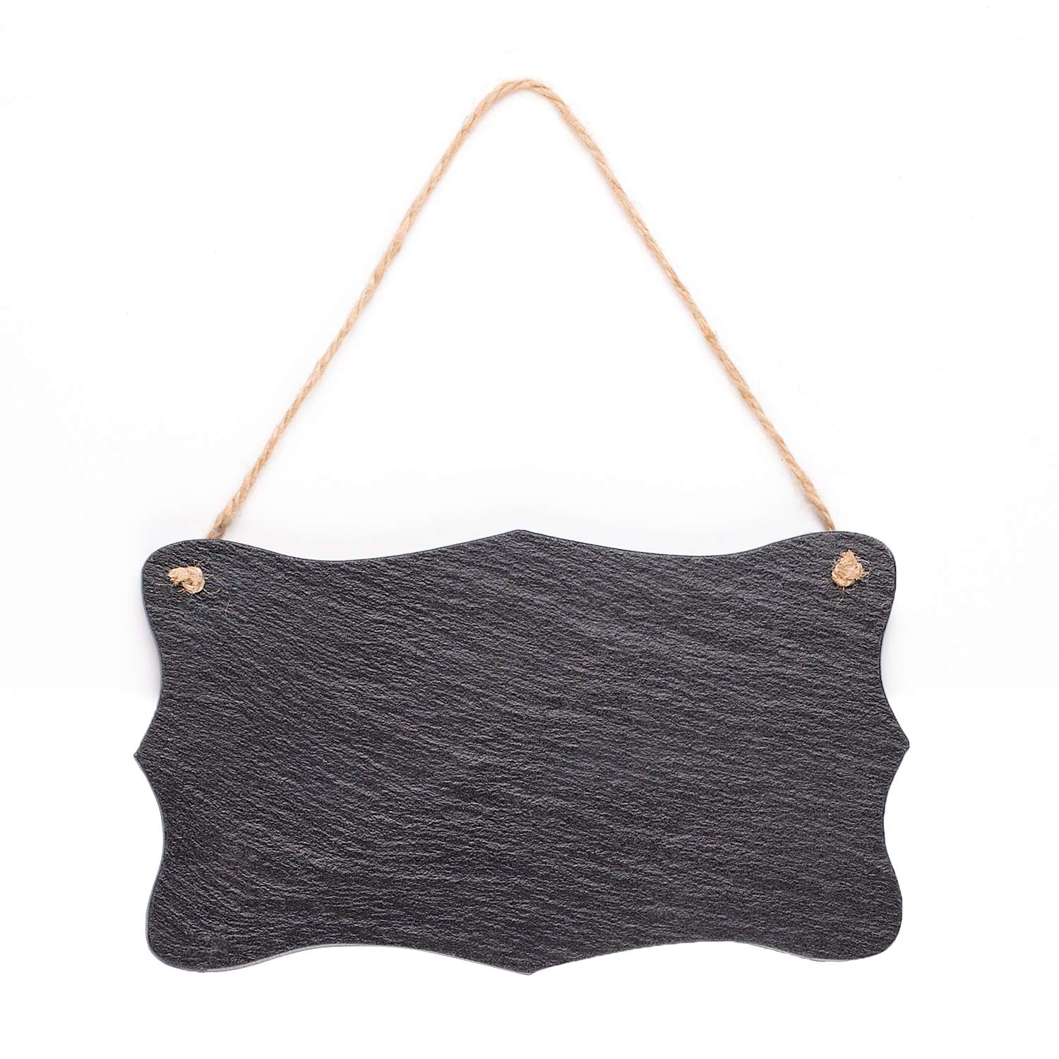 """Vintage Shape Rustic Slate Chalkboard with Twine Rope for Country Farmhouse Wall Décor, 8.25"""" x 4.75"""""""