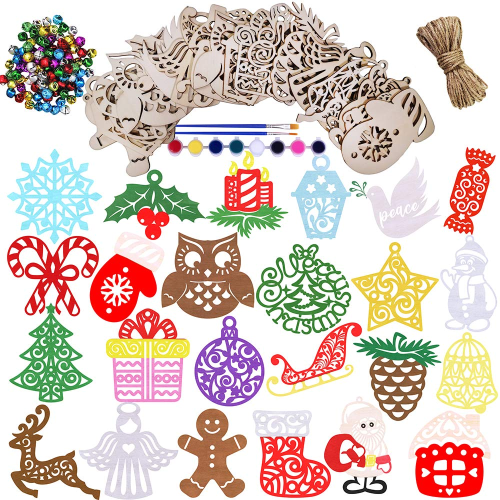 24 Set Christmas Wood Embellishments Supplies Xmas Laser Cuts Wood Shapes Crafts Holiday Kids Hanging Paintable Wooden Ornaments Crafts for Christmas Farmhouse Rustic Scrapbooking Accents