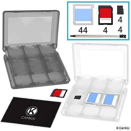 CAMKIX 2X Caja de Juego, Compatible con Nintendo 3DS - Se Adapta a hasta 44 Juegos, 4 Tarjetas SD, 4 Micro SD/TF y 4 lápices Stylus - Juego de ...