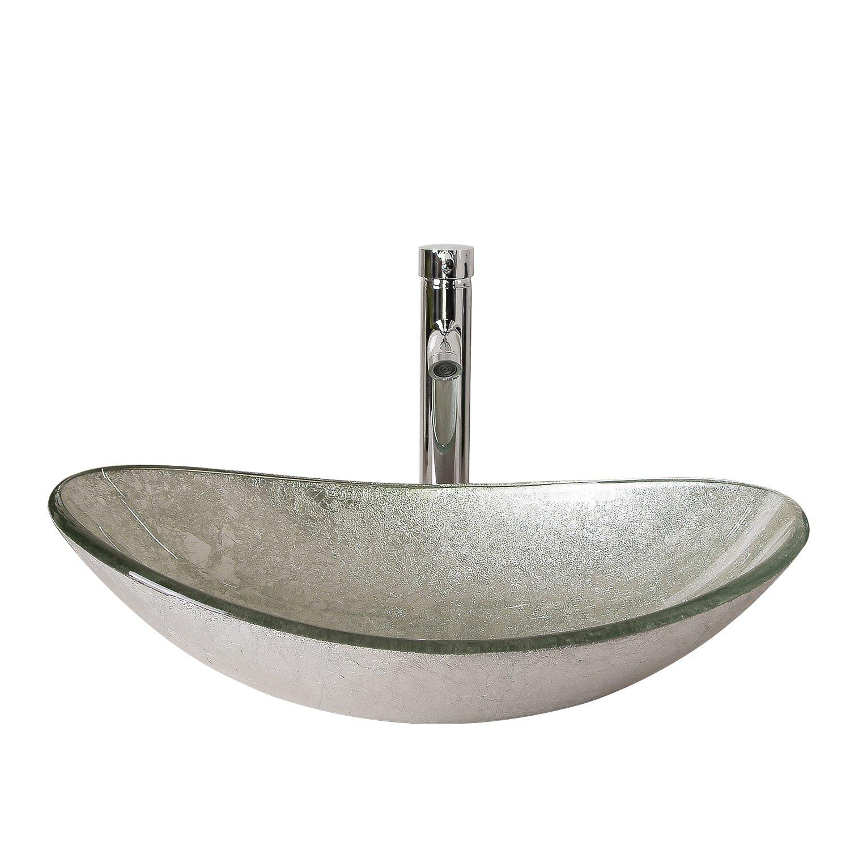 Walcut USBR1046 Bathroom Modern Oval Artistic Glass Vessel Sink with ...