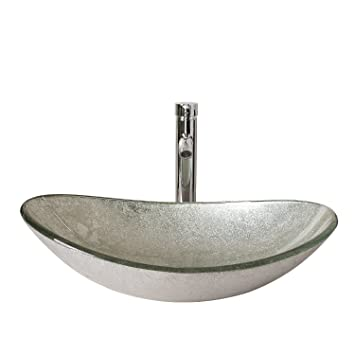 Walcut USBR1046 Bathroom Modern Oval Artistic Glass Vessel Sink with ...