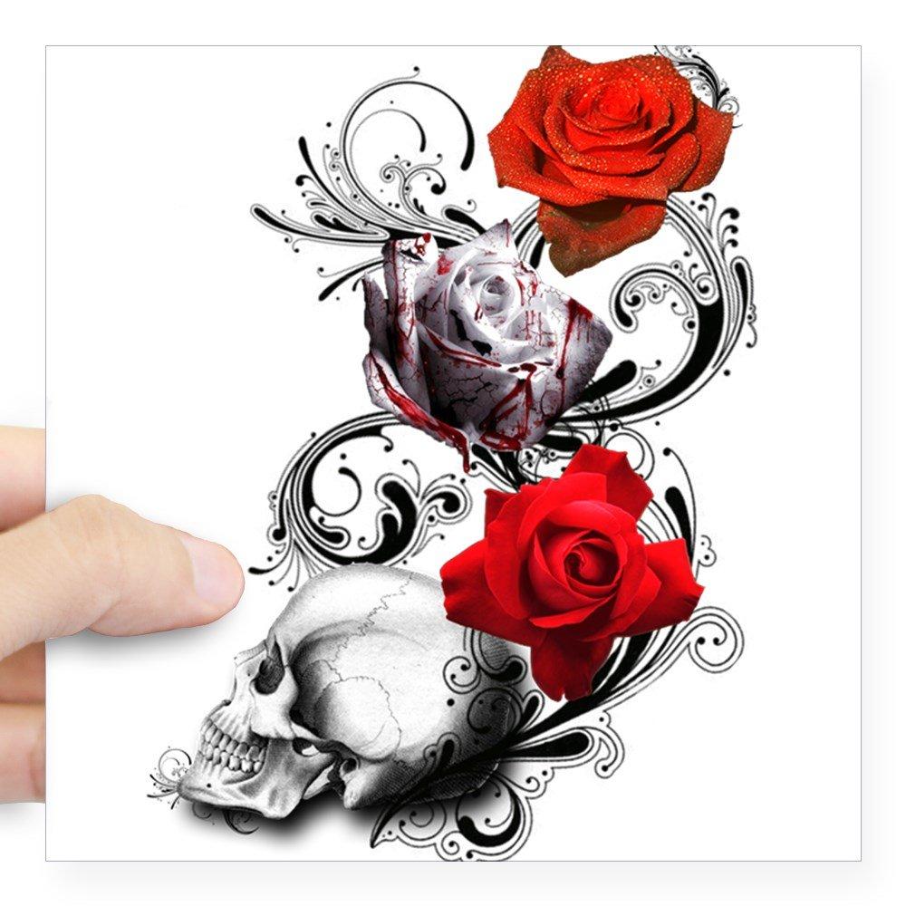 CafePress Tattoo Skull Design Aufkleber –  Quadratisch Bumper Aufkleber Auto Aufkleber, 7,6 x 7,6 cm (Klein) Oder 12,7 x 12,7 cm (groß )