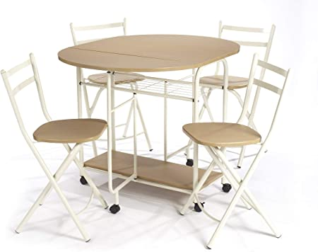 Table Et Chaises Pliantes De Salle A Manger Table De Salle A Manger Avec Espace De Rangement Pour Quatre Chaises Equipees De Roulettes Garantissant Une Bonne Mobilite Amazon Fr Cuisine Maison