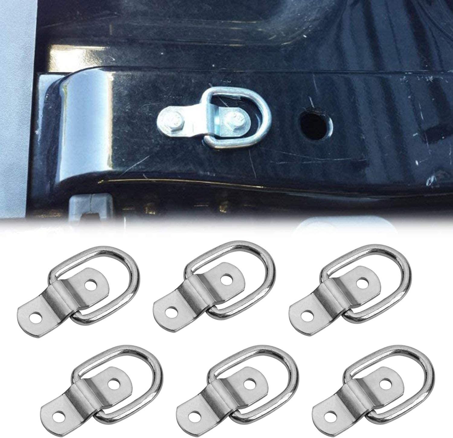 Fixed Ring with 12 Screws for Boat Trailer RV Ground Mounting Loads 6 PCS D-Ring Binding Ring 1//4 Inch Heavy Duty D-Ring Kayak Car