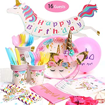 Unicorn Party Supplies Set and decorations, Birthday Decorations Bunting, Disposable Paper Plates, Cups, Napkins, Straws, Table Cloth, BONUS Balloons, Head band - Serves 16