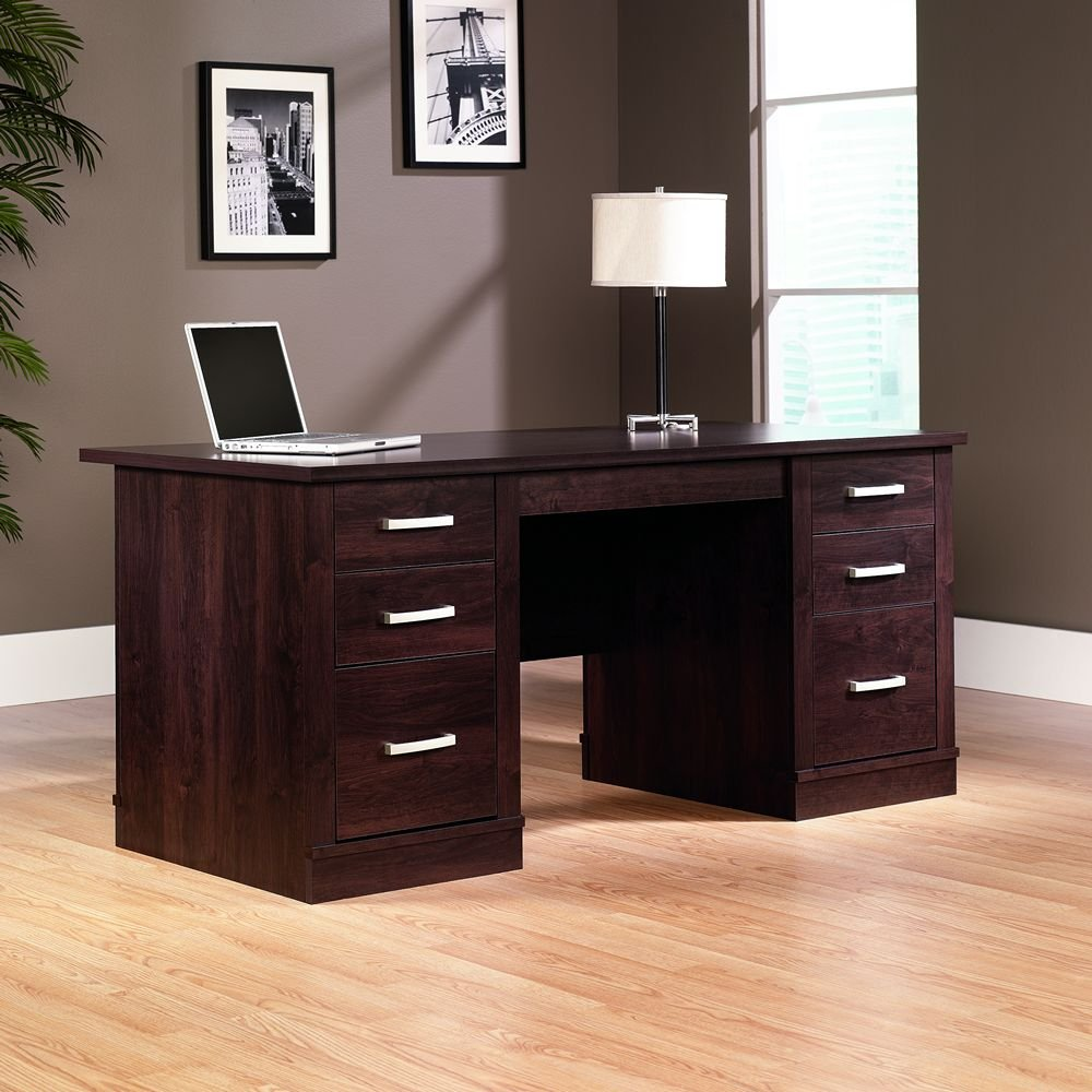 Sauder shoal creek executive desk in jamocha wood - Amazon Com Sauder Office Port Executive Desk In Dark Alder Kitchen Dining