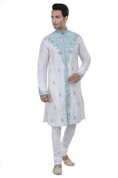 Amazon.com: Indian Diseño color blanco roto Kurta Sherwani ...