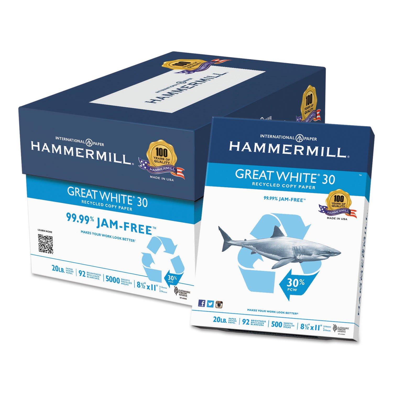 Hammermill 86700 - Great White Recycled Copy Paper, 92 Brightness, 20lb, 8-1/2 x 11, 5000 Shts/Ctn