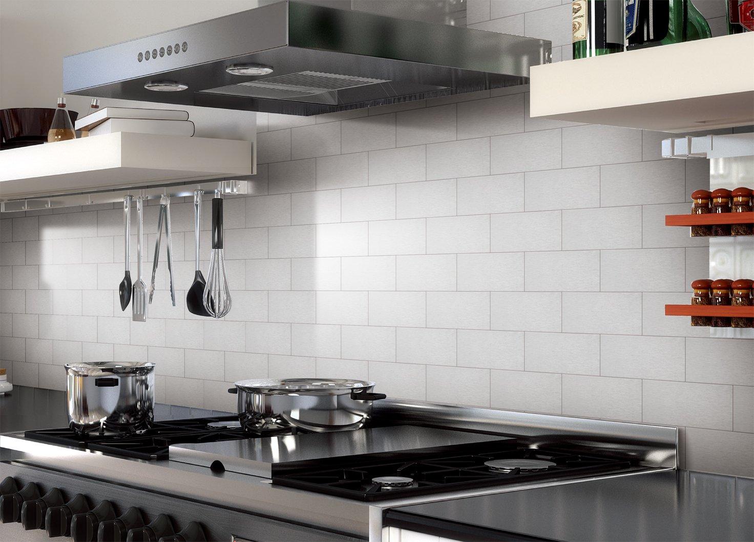 3 x 6 Brushed Champagne Art3d Peel and Stick Backsplash Long Grain Metal Tile for Kitchen and Bathrooms