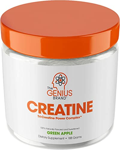 Genius Creatine Powder, Post Workout Supplement For Men and Women with Creapure Monohydrate, Hydrochloride Hcl MagnaPower and Carnosyn Beta-Alanine SR, Natural Lean Muscle Builder Sour Apple, 188G