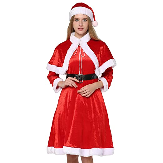 EraSpooky Women's Christmas Santa Costumes Mrs Clause Costume for Women  Santa Outfit Dress - Funny Cosplay - Amazon.com: EraSpooky Women's Christmas Santa Costumes Mrs Clause