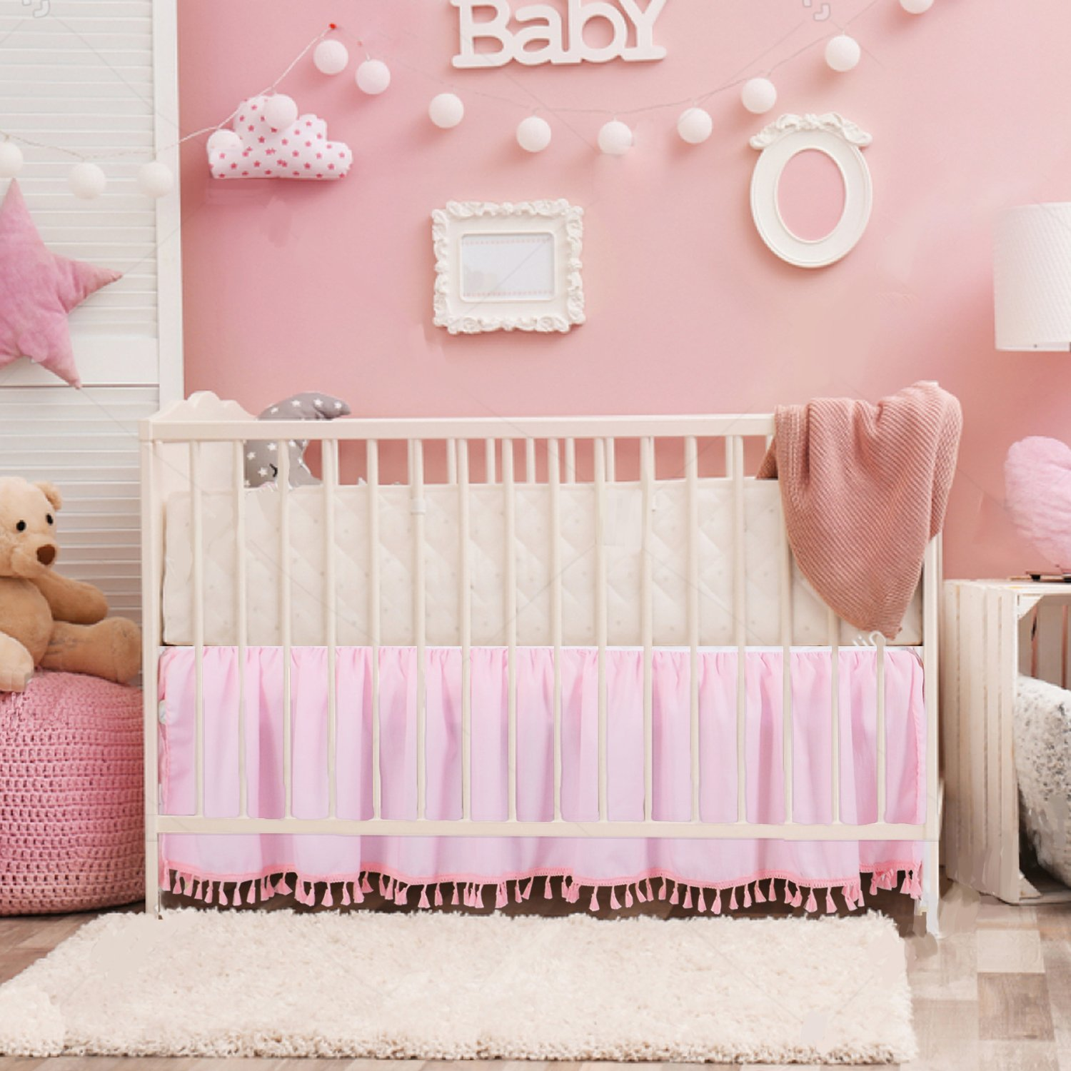 Pink Crib Bed Skirt Dust Ruffle with Tassel Trim Nursery Crib Bedding Skirt for Baby Boys and Girls,14''Drop