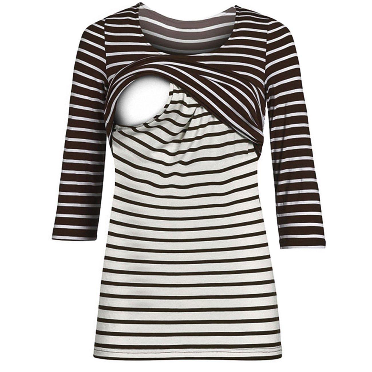 Babe Maps Women's Maternity Striped Nursing Sweatshirt Short Sleeve Breastfeeding