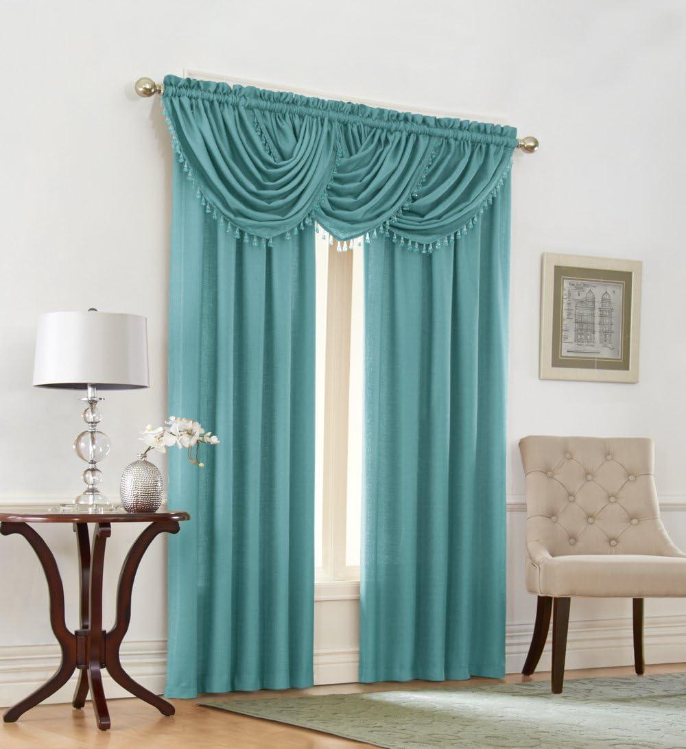 Regal Home Collections Emerald Crepe Window Panel 52-Inch x 84-Inch, Aqua, Aqua Blue