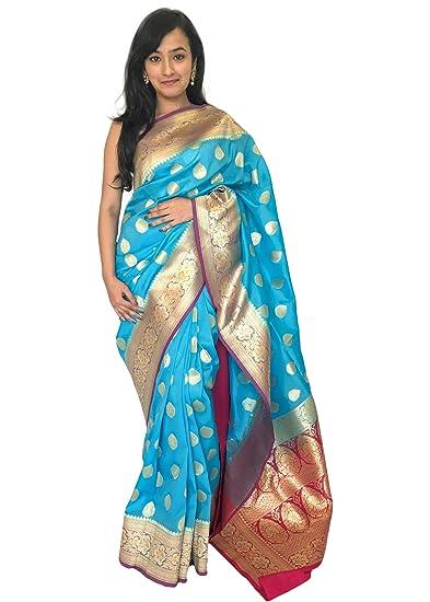 23c6c677484de Fashion Fabric Women s Banarasi Soft Silk Saree with Zari Thread Work and  Heavy Pallu with Contrast Blouse Piece (Sky Blue)  Amazon.in  Clothing   ...