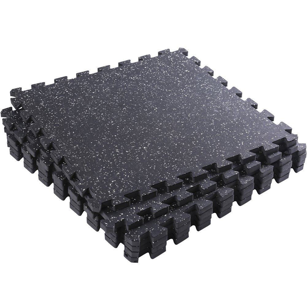 Interlocking Rubber Mats, Superjare 6 Tiles Extra Thick (0.56'') Protective Flooring for Exercise, Workout, Gym Equipment - Black/White