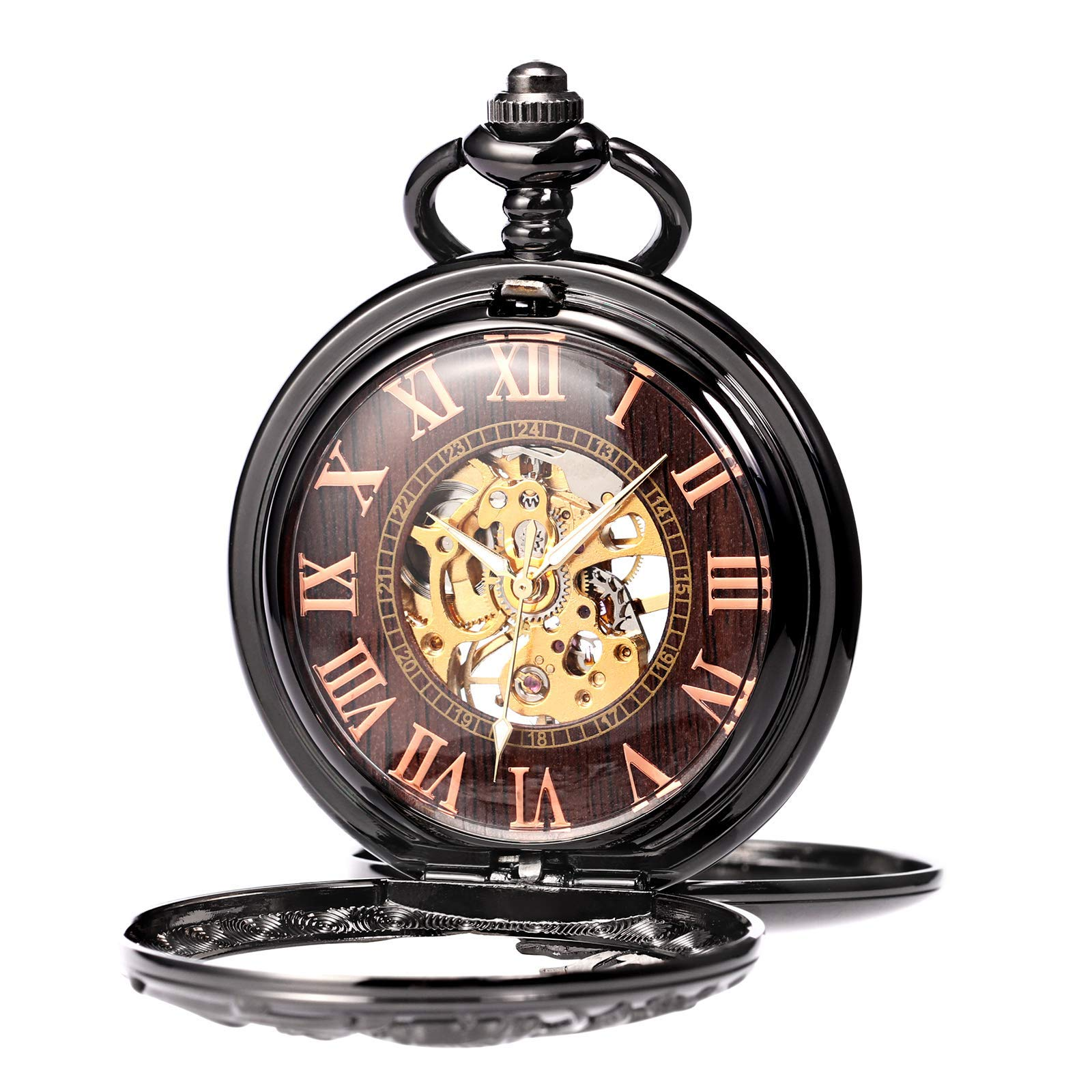 Treeweto Antique Dragon Mechanical Skeleton Pocket Watch with Chain by TREEWETO (Image #2)