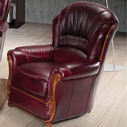 Ordinaire Luca Home High Back Burgundy Leather Chair
