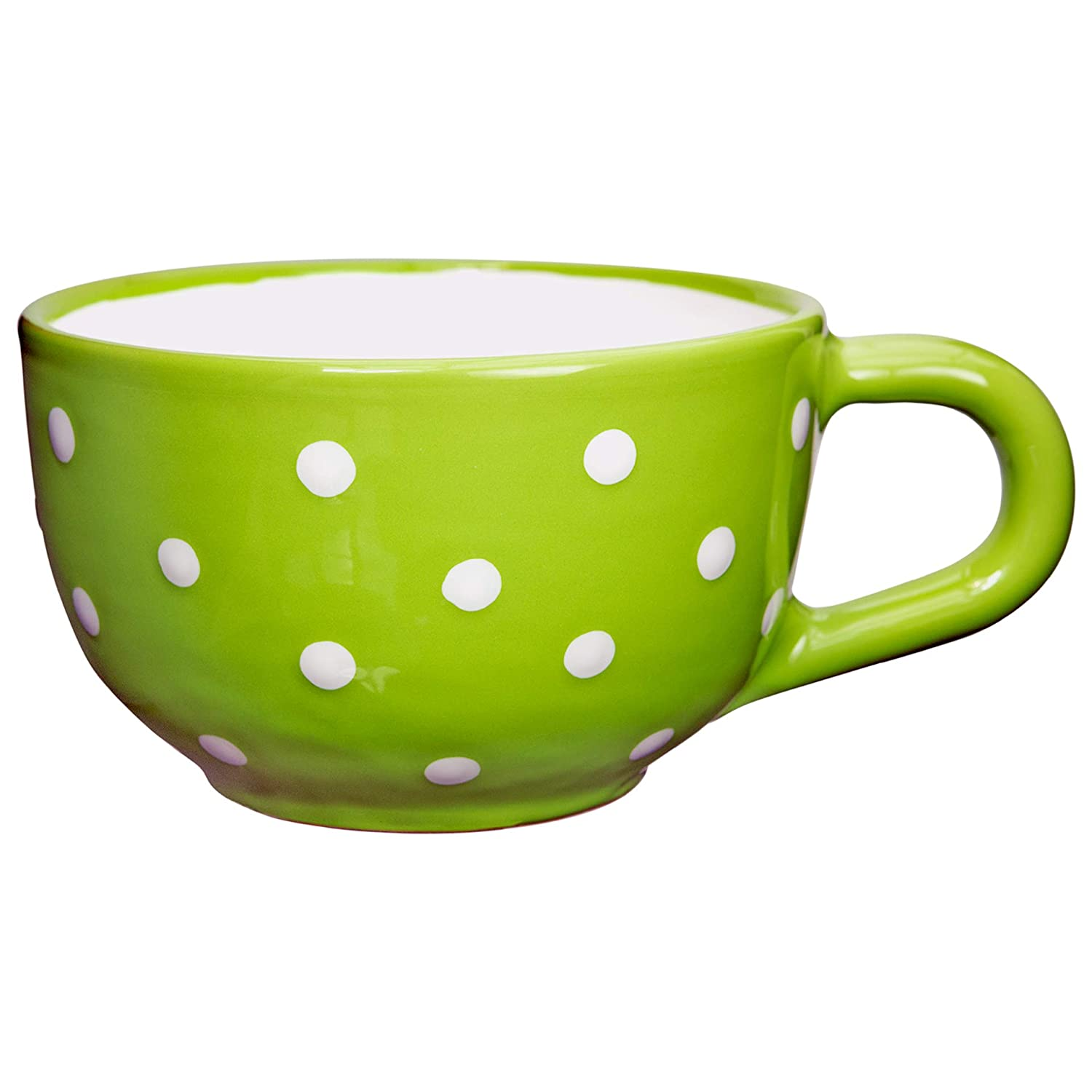 City to Cottage Lime Green and White | Polka Dot Spotty | Designer Handmade Hand Painted | Unique Ceramic Extra Large 17.5oz/500ml | Cappuccino Coffee Tea Soup Mugs Cups with Handle | Gift citytocottage.co.uk