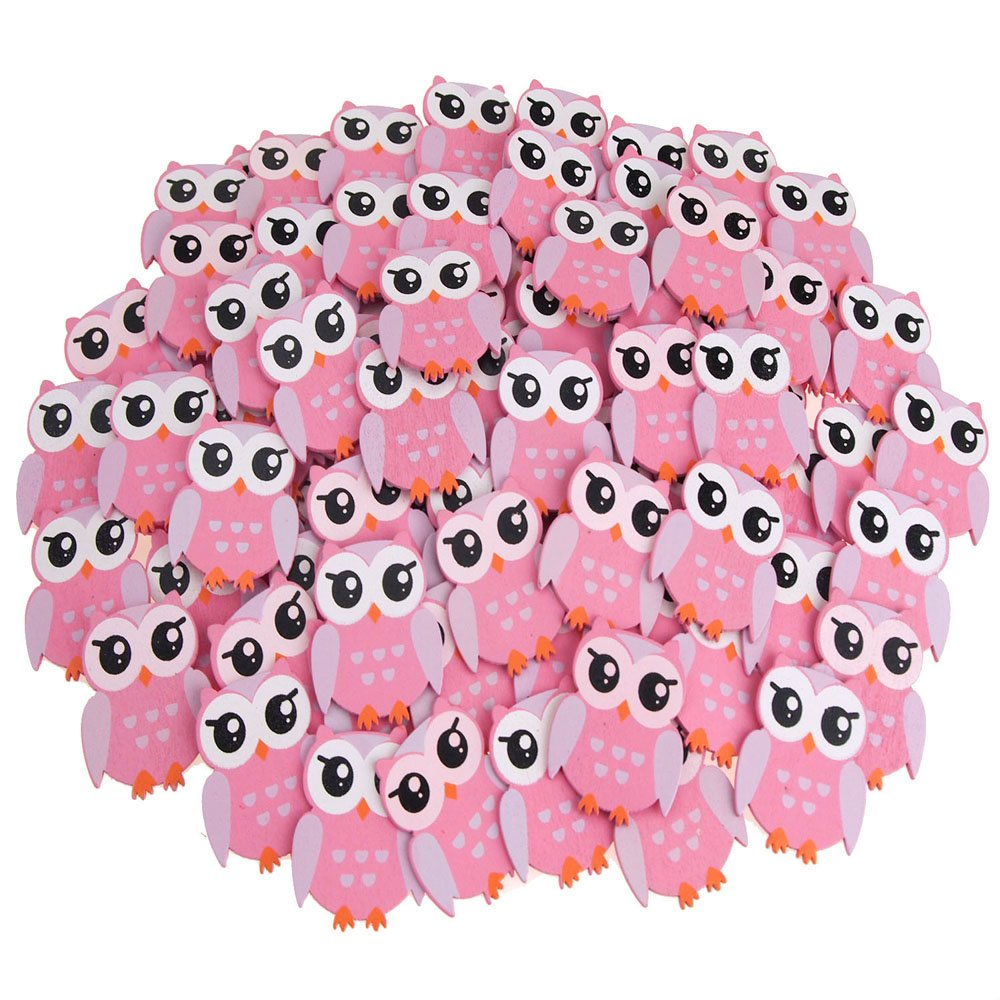 Small Owl Animal Wooden Baby Favors, Pink, 1-1/4-Inch, 100-Pack