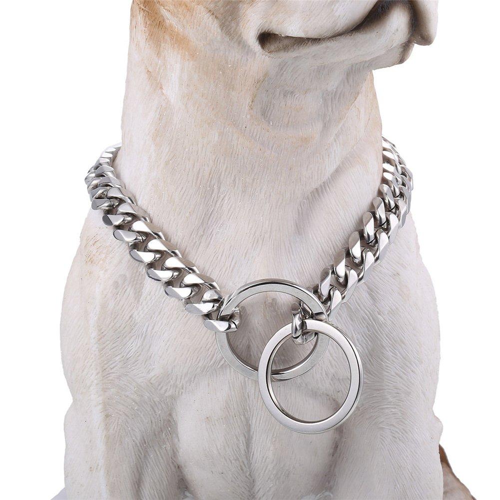 Stainless Steel Dog Collar, 15mm 22'' Fancy Slip Chain - Best for Large Dogs: Pitbull, Doberman, Bulldog