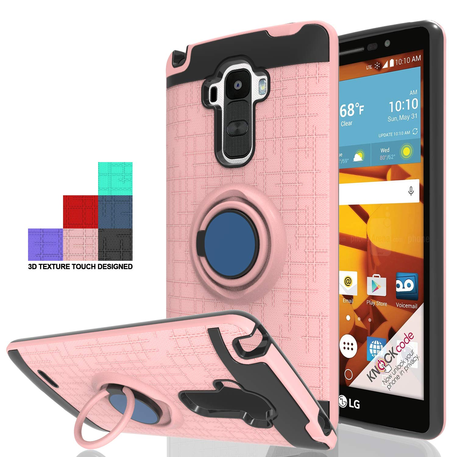 Wtiaw for:LG G Stylo Case,LG LS770 Case,LG G4 Stylus/G Stylo H631/G Stylo MS631 Case,360 Degree Rotating Ring Kickstand [TPU+PC Material] Hybrid Dual Layer Defender Case for LG LS770-CH Rose Gold