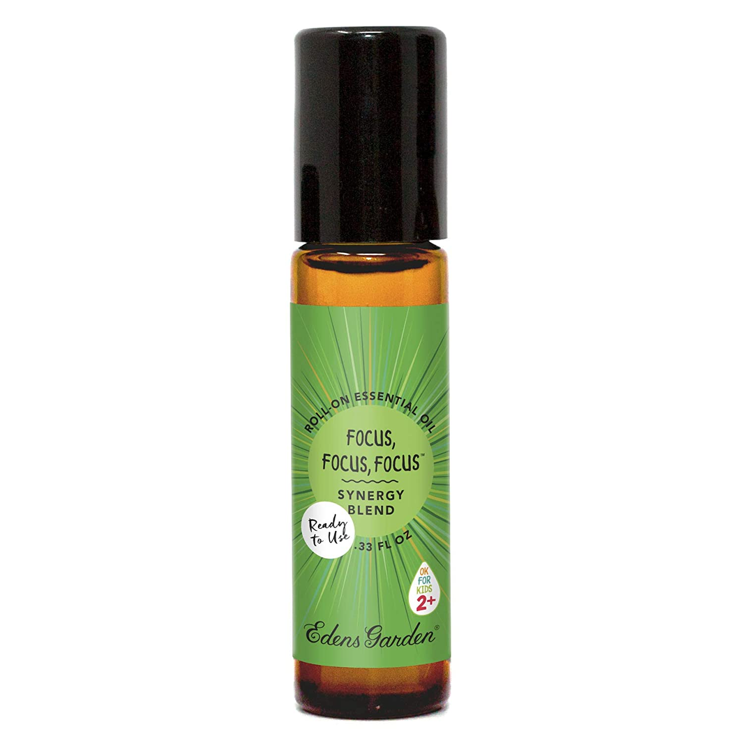 """Edens Garden Focus, Focus, Focus""""OK For Kids"""" Essential Oil Synergy Blend, 100% Pure Therapeutic Grade (Child Safe 2+, Pre-Diluted & Ready To Use, Detox & Energy) 10 ml Roll-On"""