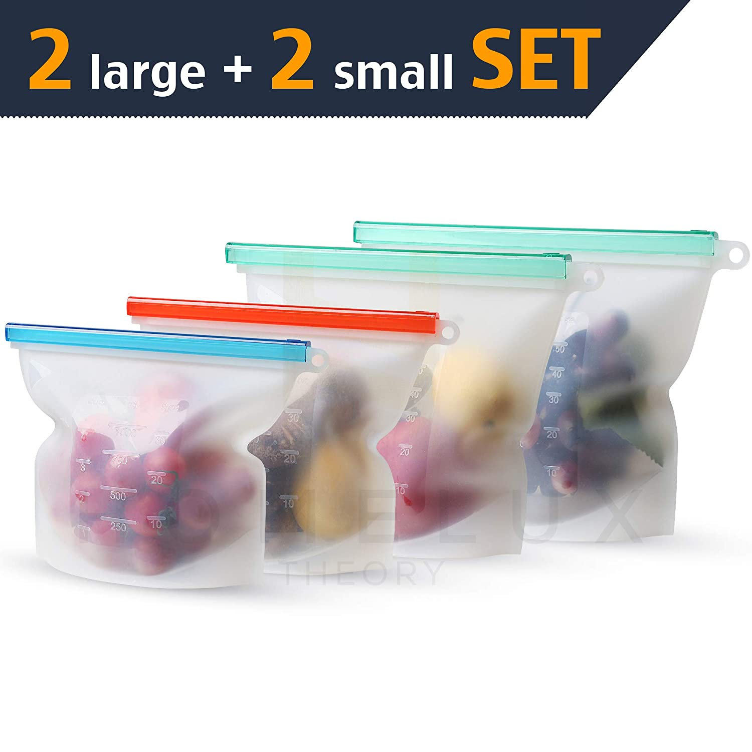 Homelux Theory Reusable Silicone Food Storage Bags | Sandwich, Sous Vide, Liquid, Snack, Lunch, Fruit, Freezer Airtight Seal | BEST for preserving and cooking | 2 Large & 2 Small (Rainbow)