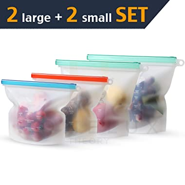 HOMELUX Reusable Silicone Food Storage Bags | Sandwich, Sous Vide, Liquid, Snack, Lunch, Fruit, Freezer Airtight Seal | BEST for preserving and cooking | UPGRADED SIZE - 2 Large & 2 small