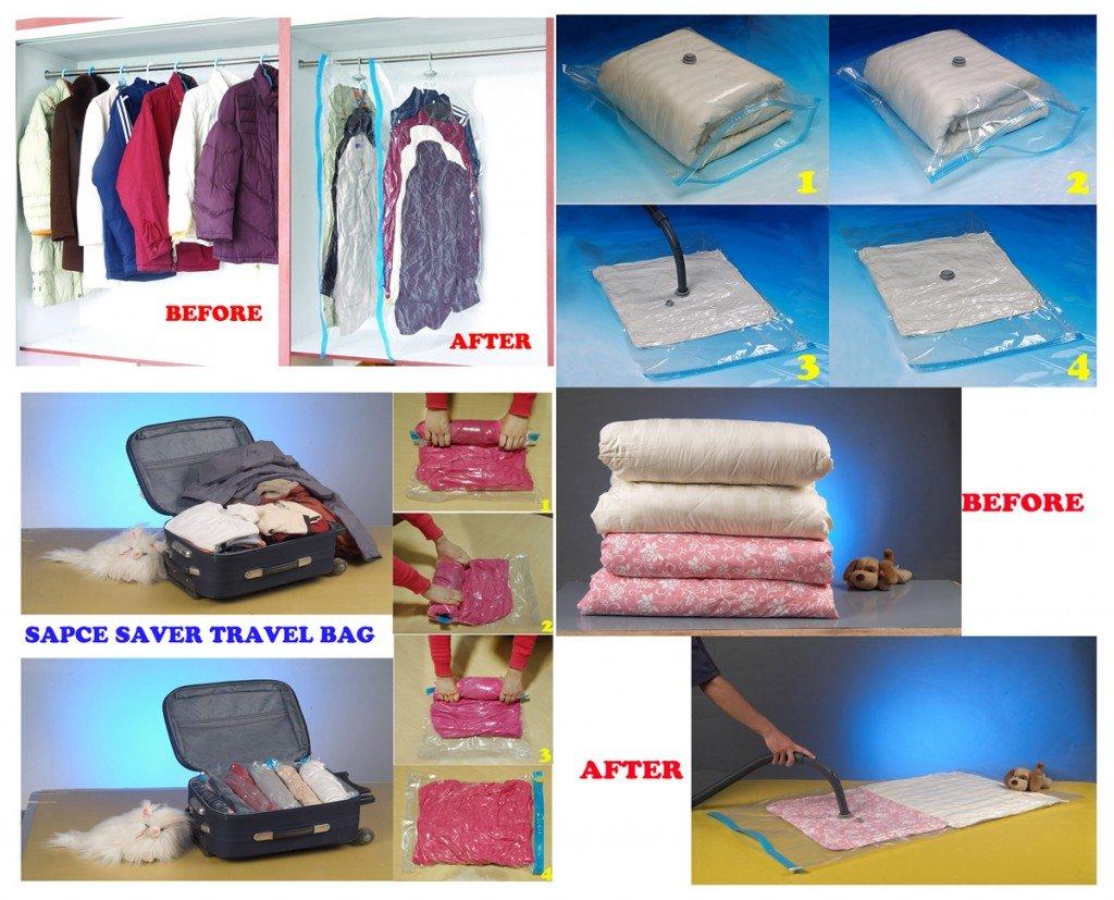 Facil&co© [Bolsas Vacio] [Bolsas de almacenamiento de vacío] para edredones, ropa de cama y prendas de vestir. Solución perfecta para guardar ropa, ...