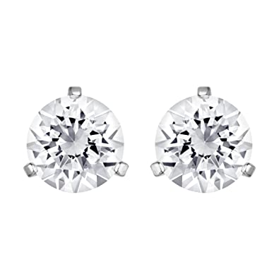 054be41dd Swarovski Women's Rhodium Plating and White Crystal Solitaire Pierced  Earrings
