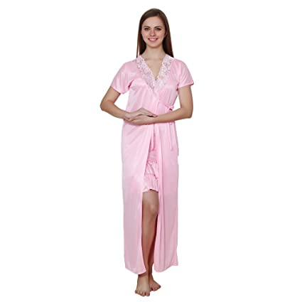 0c78ca78d3 Buy Queen Pretty Women Satin Nighty with Robe (Baby Pink) Online at Low  Prices in India - Amazon.in
