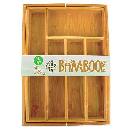 Bandeja Para Cubiertos Extensible de Bambú - Bandeja de Cubiertos de Madera - Organizador de Cajones