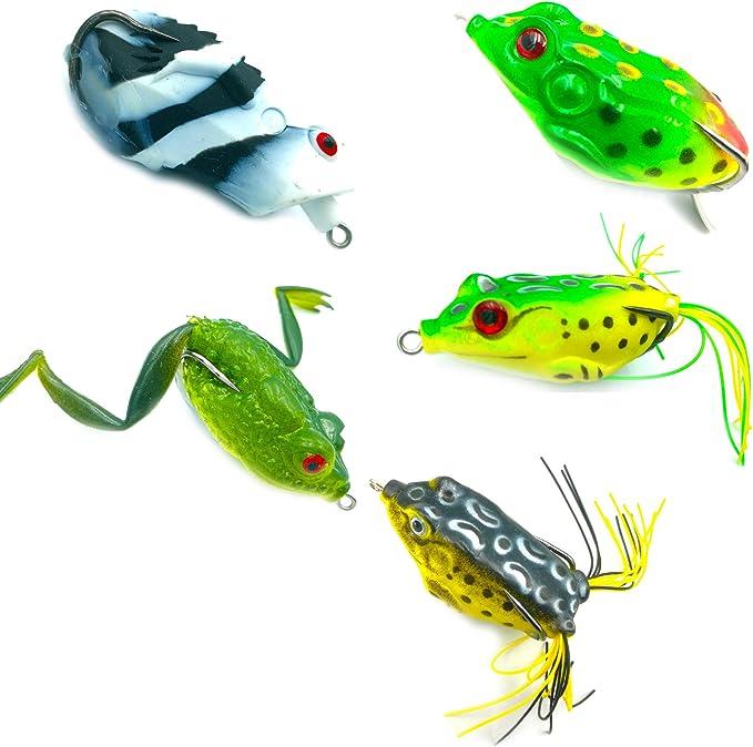 HooDoo Topwater frog bass fishing lure bait lot of 2 musky pike yellow black