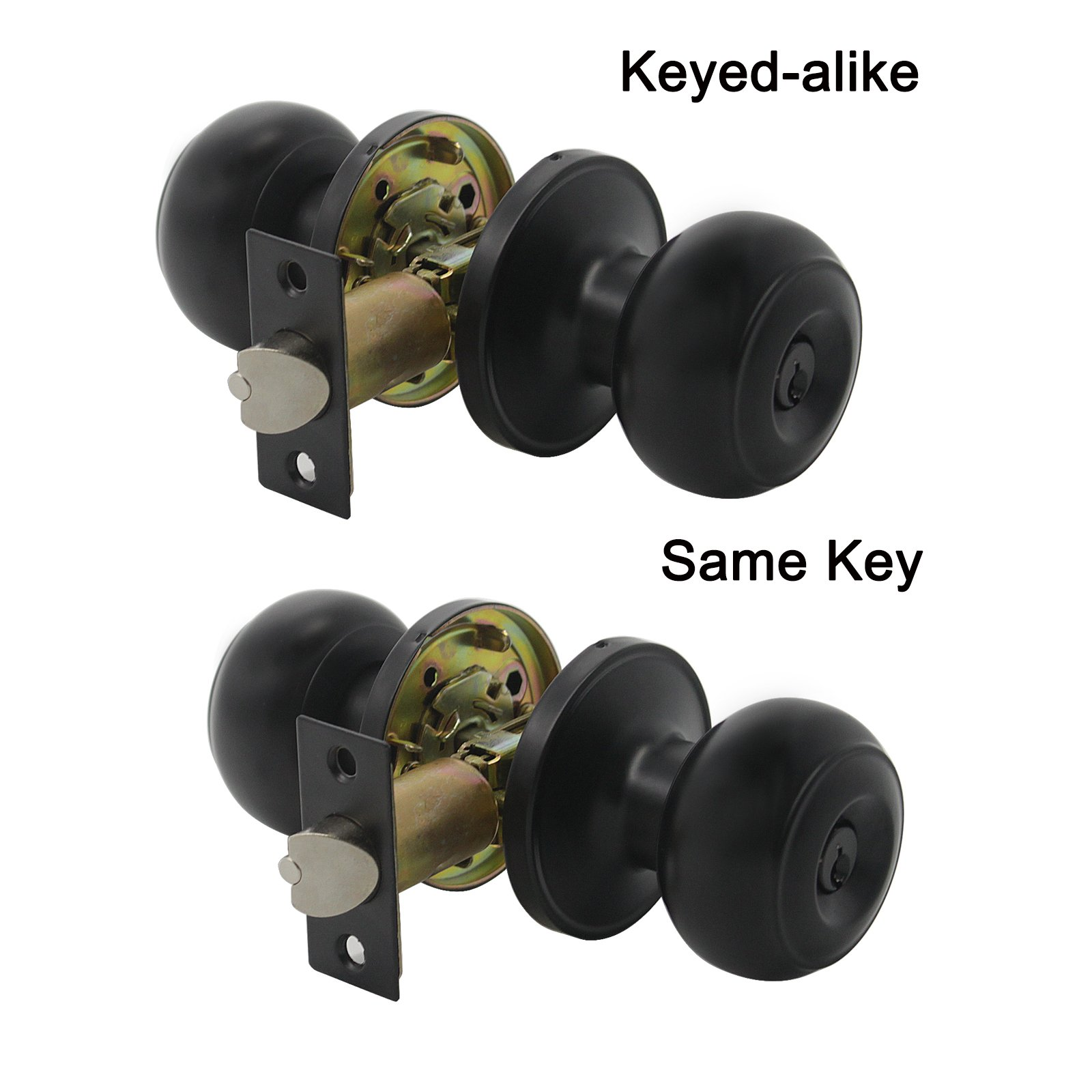 Gobrico Keyed-alike Exterior Door Knobs Flat Ball Door Locksets with Same Key, 2Pack