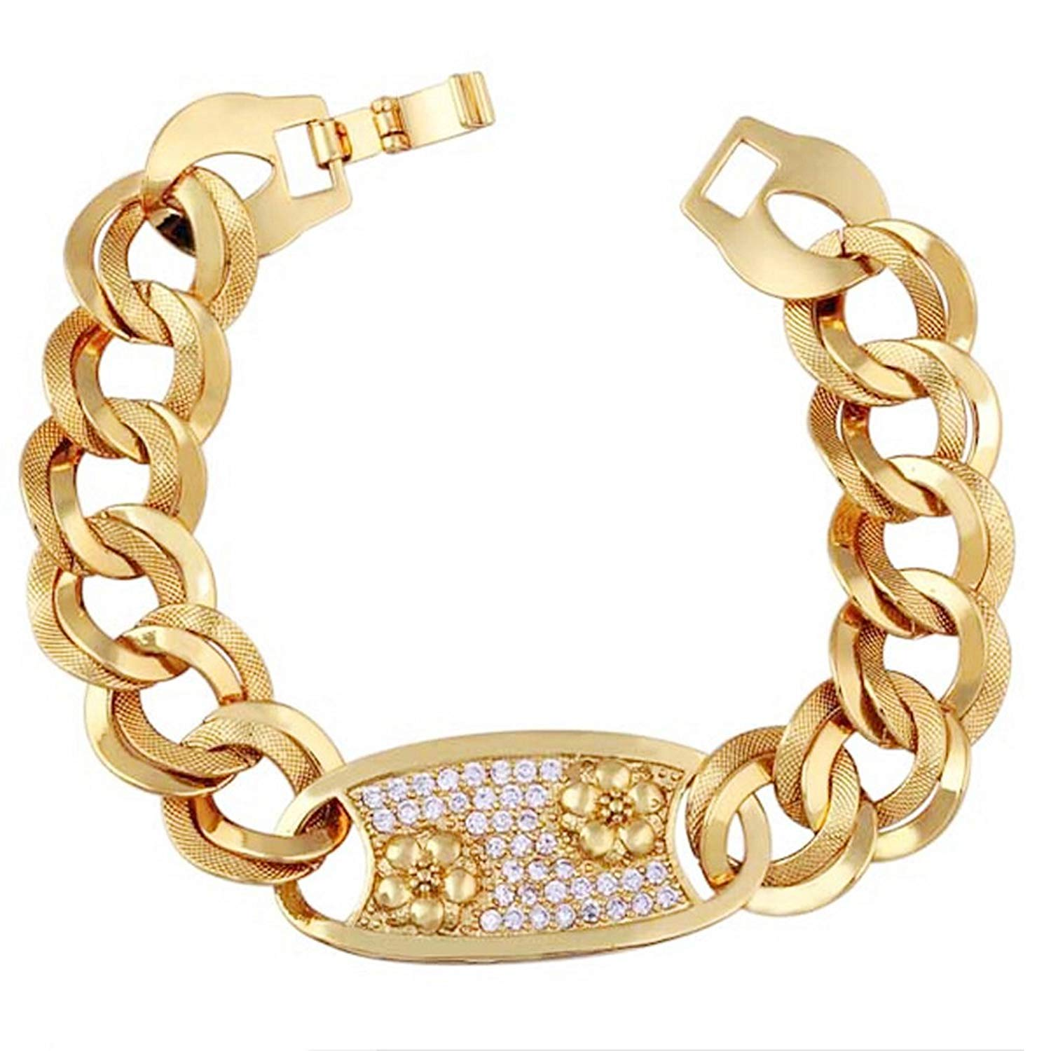 DVANIS 18K Unique Golden Plated Women Flower Zircon Bracelet Jewelry Gift