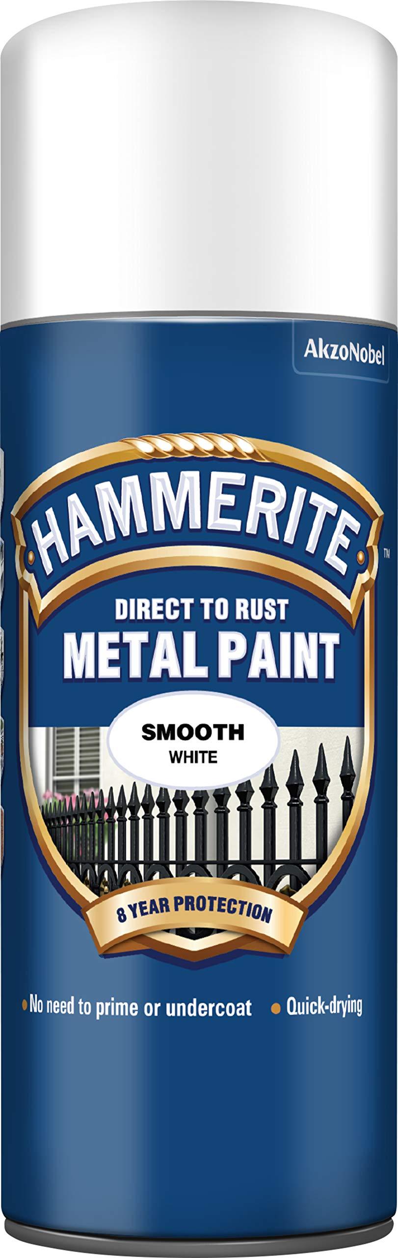 Hammerite 5084782 Metal Paint: Smooth White 400ml (Aerosol)