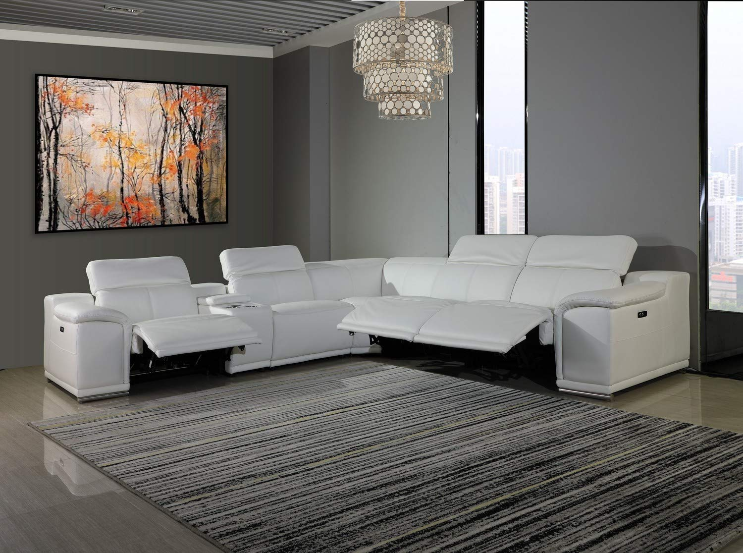 Blackjack Furniture Venice Modern Living Room Power Reclining Sectional Set with Console, 6 Piece, White by Blackjack Furniture