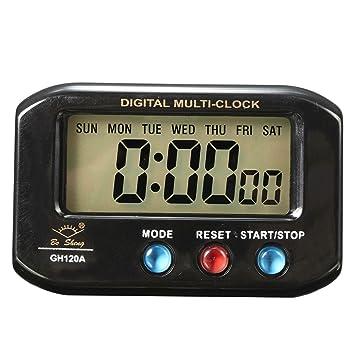 EsportsMJJ LCD Digital Fecha Hora Reloj Despertador con Función De Luz De Noche Snooze
