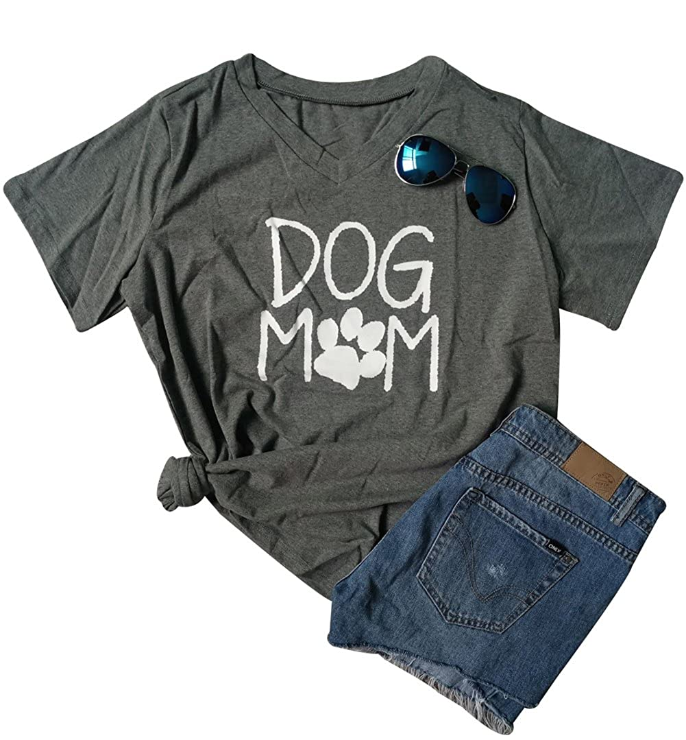 BANGELY Womens Dog Mom V Neck Letters T-Shirt Moms Gift Dog Paw Casual Tees Tops J104