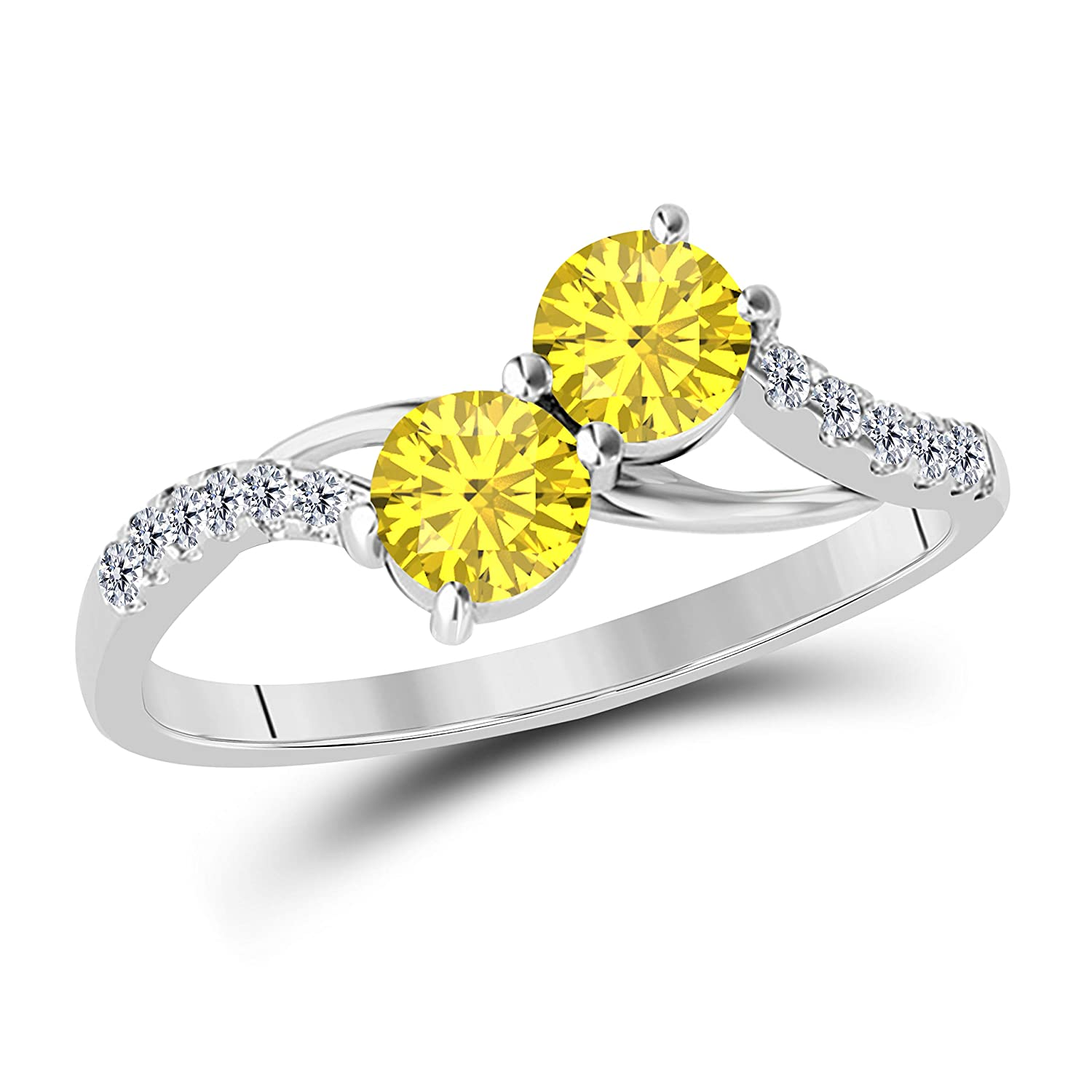 925 Sterling Silver Two Stone Yellow Sapphire and White Cubic Zirconia Engagement Couple Ring 1.00 Ct