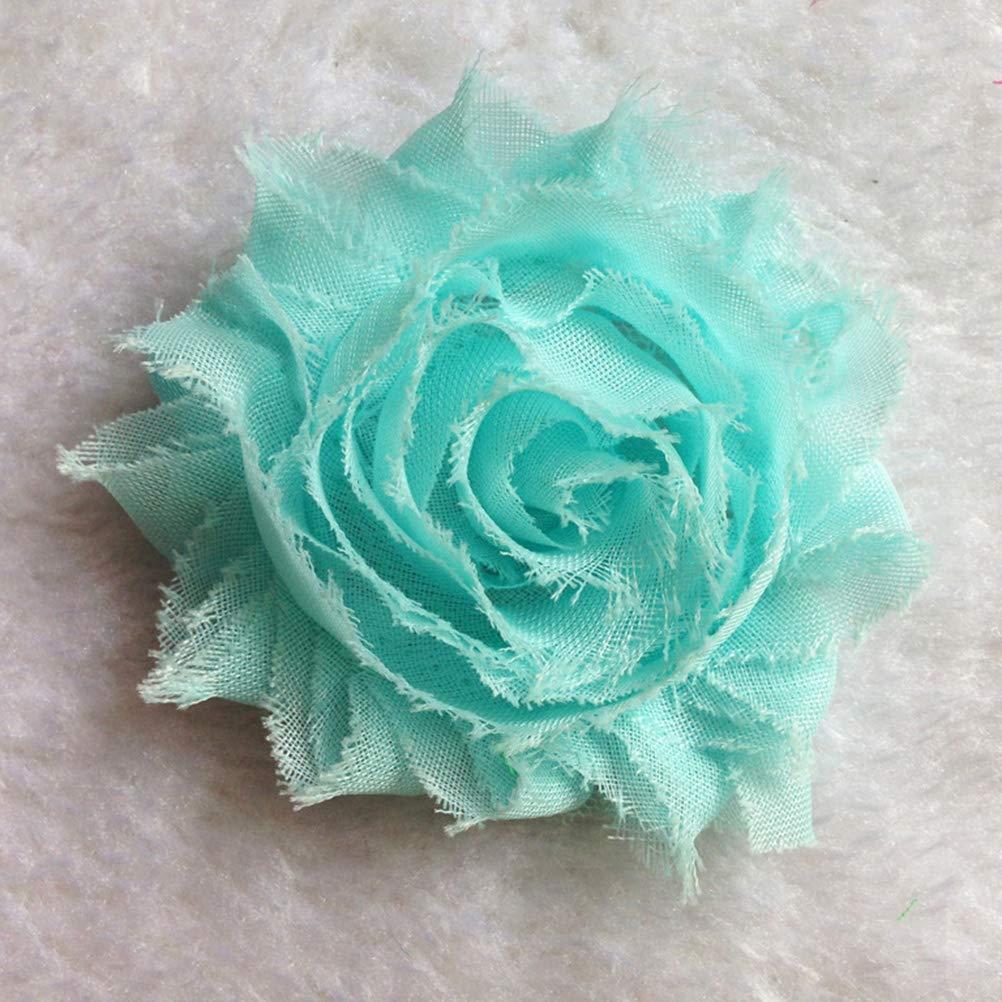 30 unids Shabby Flores Gasa Tela Rosas S/ólidos Color Impreso DIY Joyer/ía Tocado Accesorios de la ropa Decoraci/ón de La Boda