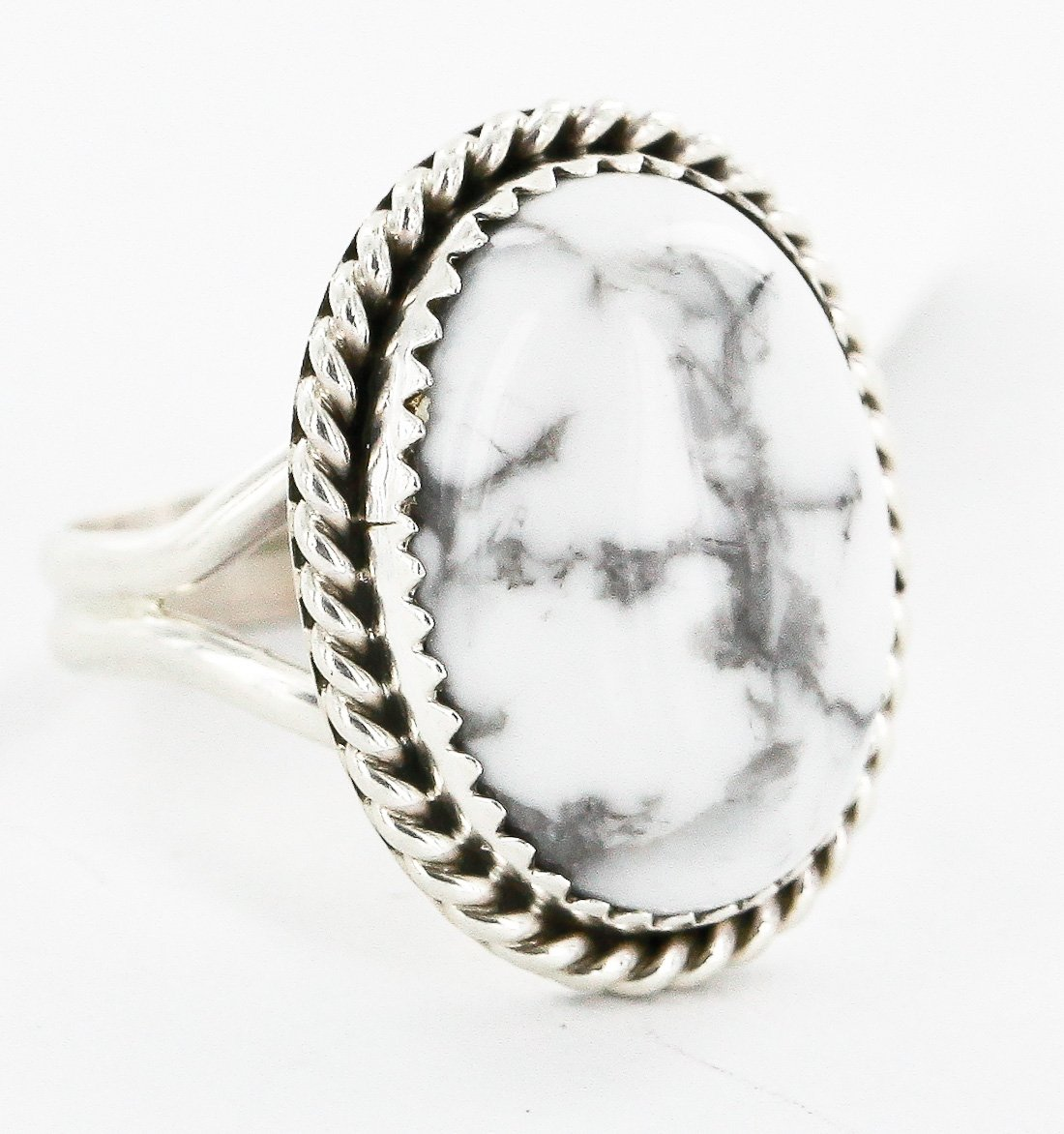 $230 Retail Tag Silver Handmade Authentic Made by Robert Little Navajo Natural White Turquoise Native American Ring by Native-Bay
