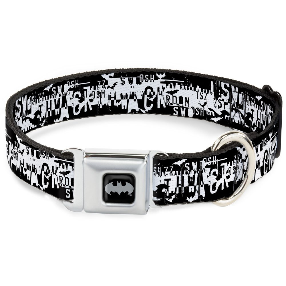 Buckle-Down Seatbelt Buckle Dog Collar Batman Action Verbiage Black White 1  Wide Fits 9-15  Neck Small