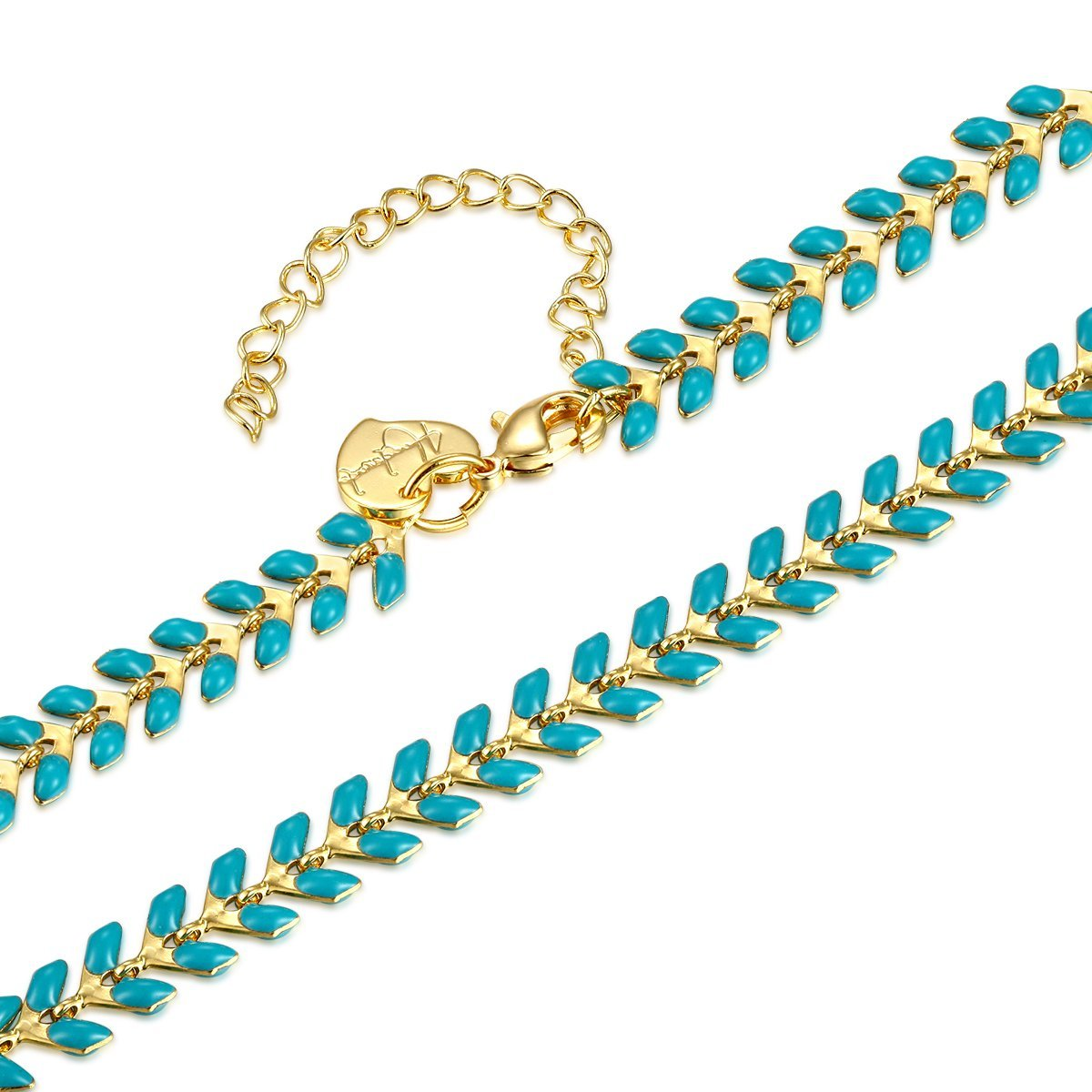 Fettero Anklet Bracelet Handmade Beach Boho Foot Jewelry Gold Heart Enamel Arrow Chevron Fishbone Chain Multicolored Seed Bead