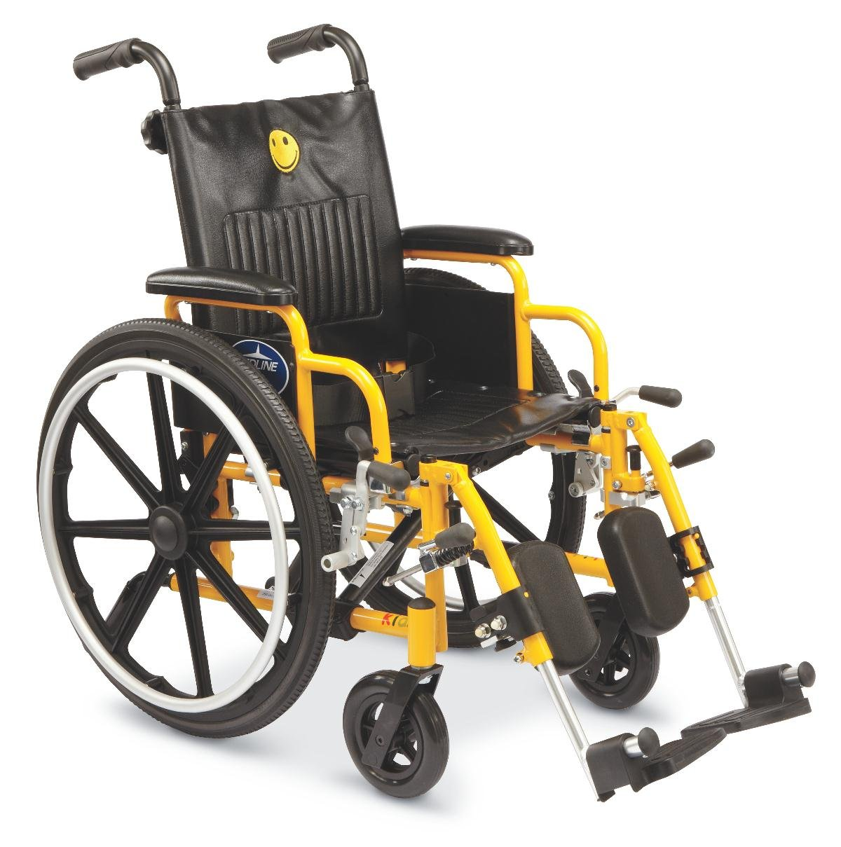 Medline Pediatric Wheelchair, 14'' Wide Seat, Swing-Bag Desk-Length Arms, Elevating Legrests, Yellow Frame