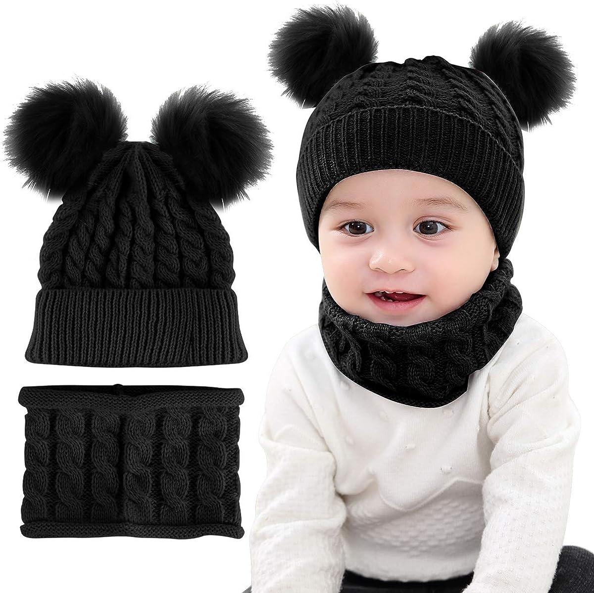 Baby Pom Pom Hat Scarf Set Winter Toddler Beanie Cap Circle Loop Scarf Neckwarmer Set