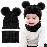 iFCOW Bebé de punto sombrero bufanda conjunto invierno suave cálido acogedor Pom Pom Ball Beanie Cap+cuello calentador 2…
