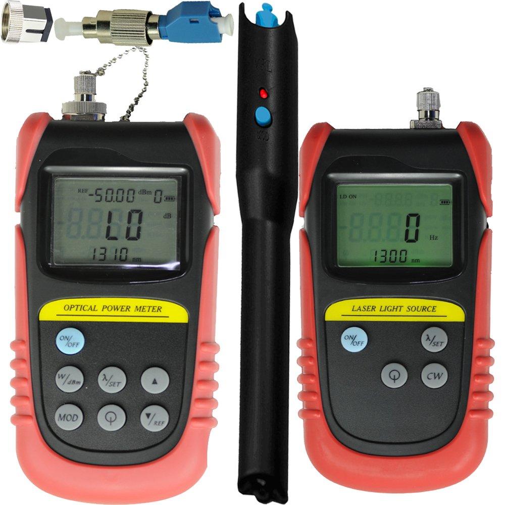 -50dB ~ +26dB, Optical Power Meter, fiber Optic Power meter + FC Male to LC Female Adapter + 10mw Visual Fault Locator+ 850nm/1300nm Wavelength, Optical Laser Source, fiber Optical laser light source