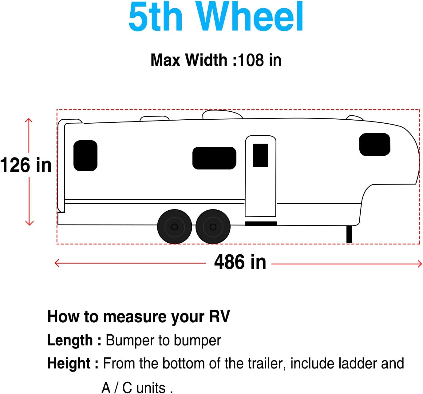 Fits 401-436 RVs RVMasking Heavy Duty 5 Layers Top 5th Wheel Cover 25.4/&59 Breathable Waterproof Ripstop Anti-UV RV Covers with 15 PCS Windproof Buckles /& Adhesive Repair Patch